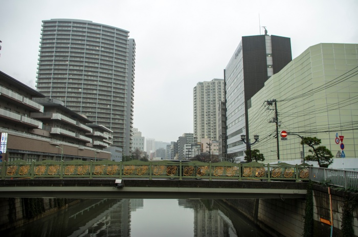 Meguro river with the view of Meguro itself. This is a well-known hanami spot during the season