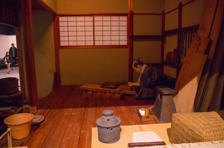 This picture is not of very high quality, but it shows the room of craftsman in the Edo period, inside of Tokyo Edo Museum