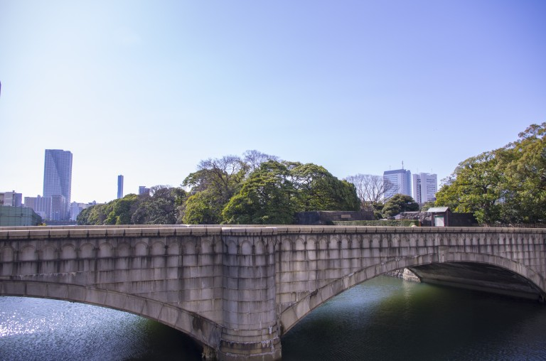 The bridge leading to Hamarikyu Gardens, the entry can be seen in the background